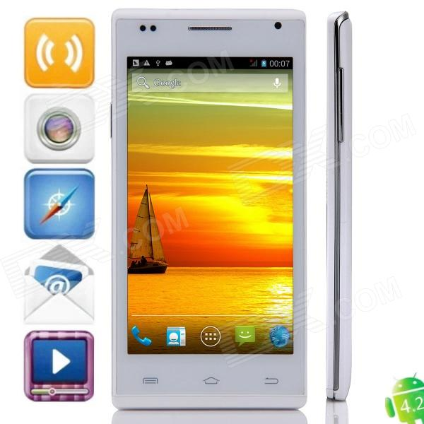 Mijue M6 MTK6582 Quad-Core Android 4.2.2 WCDMA Bar Phone w/ 4.5 QHD, 4GB ROM, Wi-Fi, GPS - White m pai 809t mtk6582 quad core android 4 3 wcdma bar phone w 5 0 hd 4gb rom gps black