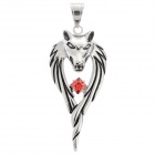 DIY Wolf Head Shaped Titanium Steel Rhinestone Pendant for Men - Silver + Red