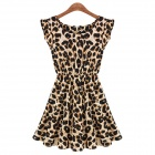 JM9018 Stylish Sexy Leopard Pattern Bobby Fabrics Dress - Black + Leopard Grain (M)