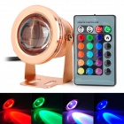 ZY 03 10W 400lm 1-LED RGB Dimming Underwater Lamp w/ Remote Control for Fish Tank - Golden (12V)