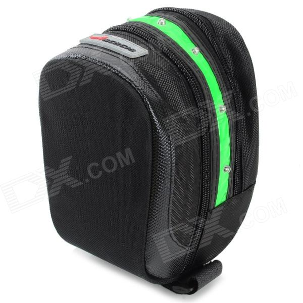 Acacia 0411301 Cycling Waterproof 600D Oxford Bike Saddle Bag w/ Warning Light - Black + Green free shipping 2017 new oxford cloth motorcycle saddle bag helmet package moto saddle bag waterproof cover plastic plate
