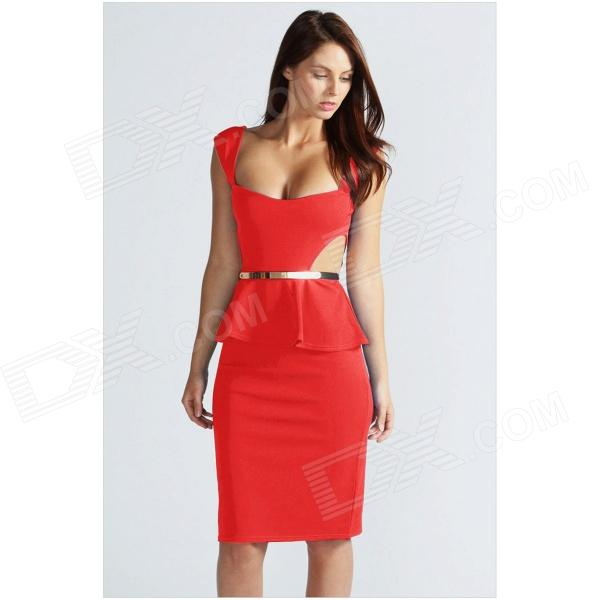 LC861646 Women's Sexy Cut Out Side Flounced Polyester Dress - Red (Size L) red cut out low waisted panties