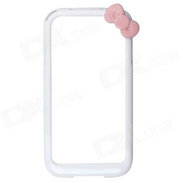 Fashionable Protective Bumper Frame Case with Bowknot for Samsung Galaxy S4 / I9500 - White + Pink