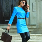 Stylish European Autumn & Winter PU + Polyester Fashion Dress - Blue (Size L)