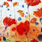 Iarts DX0415-10 Lots of Flowers on the Grass Hand Painted Oil Painting - White + Red