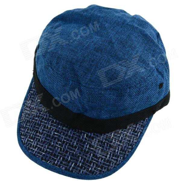 YUSHAN Flat-Top Weaving Linen Baseball Hat Cap - Dark Blue military hat flat cap m177