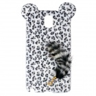 Leopard Print Pattern Protective Plastic Back Case w/ Tail for Samsung Galaxy Note 3 - Black + White