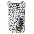 Leopard Pattern Protective Plastic Back Case w/ Tail for Samsung Galaxy Note 2 N7100 - White + Black