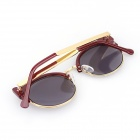 Cat-Eye Retro Style Metal Half-Frame UV400 Protection Round Sunglasses - Wine Red + Golden