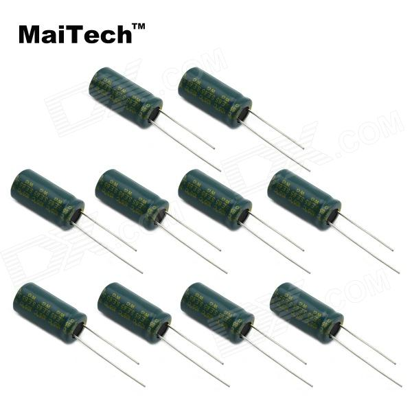 MaiTech 03120297 6.3V 3300uF Electrolytic Capacitors - Green (10 PCS) maitech 12 x 8mm 63v100uf electrolytic capacitors black 10 pcs