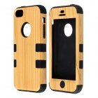 Fashionable Natural Wood Line Style Protective Silicone Back Case for IPHONE 5C - Yellow + Black