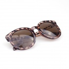Women's Retro Style UV400 Protection Round Sunglasses - Leopard Brown