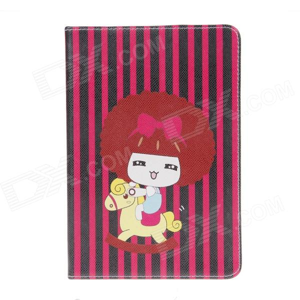Cartoon Mousse Girl Pattern PU Leather Case Cover Stand w/ Auto Sleep for IPAD AIR - Multicolored