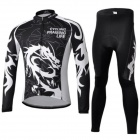 CHEJI Cycling Men's Long Sleeves Jersey + Pants Suit - Black + White (XL)