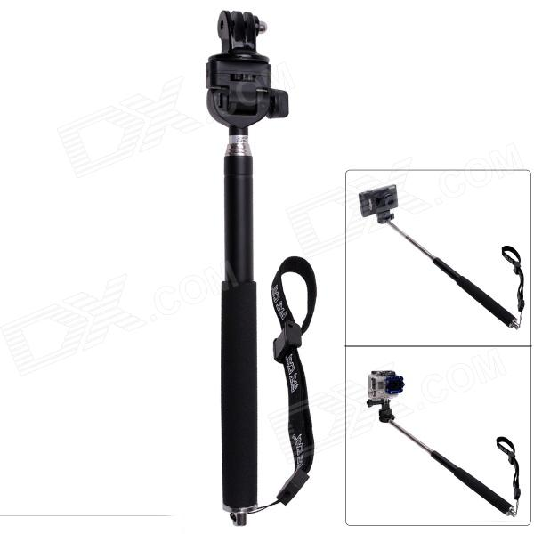 Fat Cat M-M6 Retractable 6-Section Monopod for Gopro Hero 4/ 3+/3/2/1/SJ4000 - Black + Silver (25~95cm) pannovo 4 section retractable handheld pole monopod for gopro hero 4 2 3 3 sj4000 black