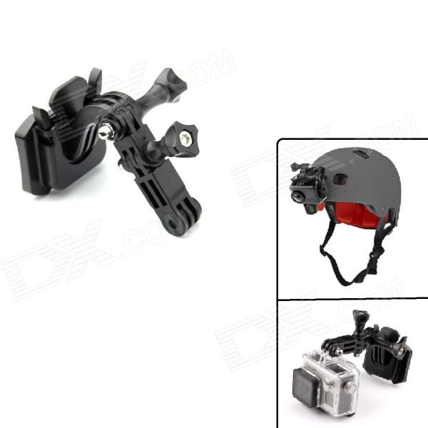 PANNOVO Universal Curve Helmet Front Mount w/ 3M Sticker for Gopro Hero 4/ 3+ / 3 / 2 / SJ4000 - Black pannovo g 215 waterproof foam floaty backdoor w 3m adhesive tape for gopro hero 4 3 sj4000 red