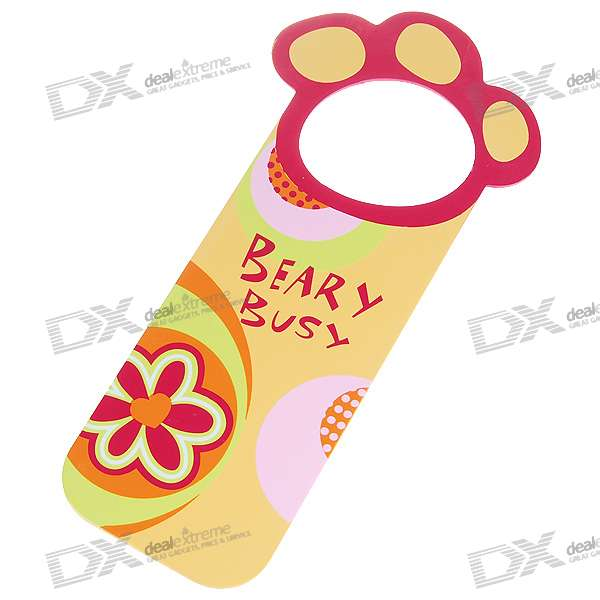 Unique Doorplate Tag - Beary Busy (Yellow)