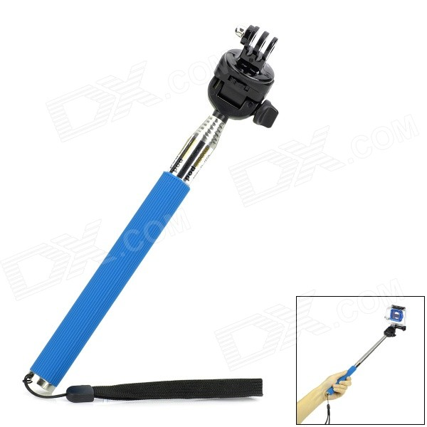 Handheld Aluminum Alloy Monopod Mount Adapter for DLSR / GoPro Hero 4/2 / 3 / 3+ - Blue three dimensional adjustable zinc alloy connector for gopro 3 3 2 golden