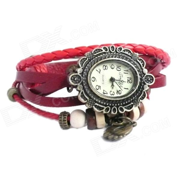 Women's Fashion PU Band Analog Quartz Wrist Watch - Red + Multi-Color (1 x SR626)