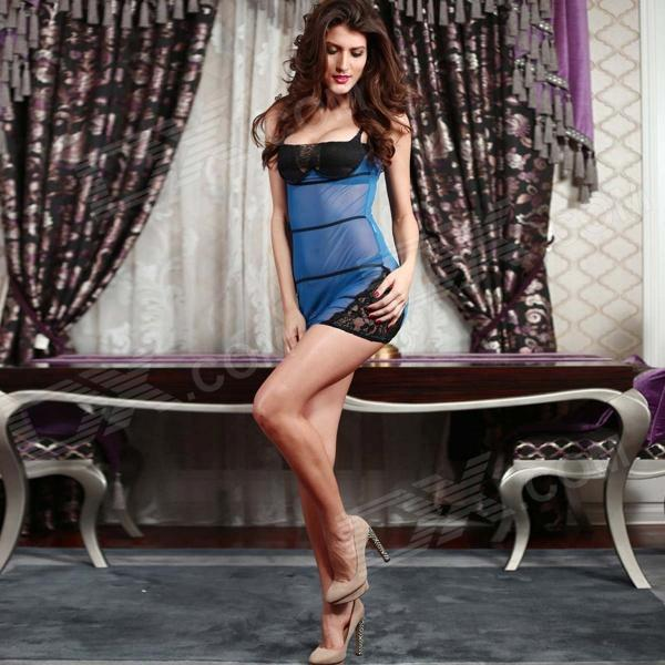 sexy women 39 s see through nightdress underwear set blue. Black Bedroom Furniture Sets. Home Design Ideas