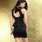 LC2936-2L Rare Embroidered High Neck Peplum Dress - Black