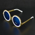 OUMILY Unisex Retro Style Round Lens Sunglasses - Golden + Blue