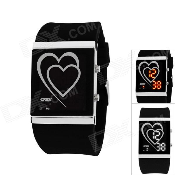 Skmei Men's Waterproof Zinc Alloy Heart Style LED Watch w/ Digital Display - Black skmei fashionable waterproof led digital wrist watch w compass black 1 x cr2016