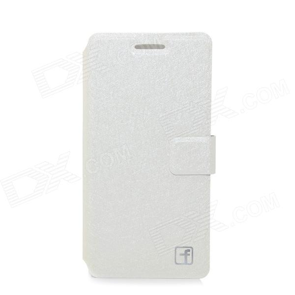 Flower Show Protective PU Leather Case Cover Stand for HUAWEI P6 - White