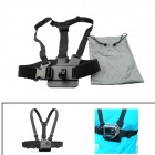 PANNOVO Front Chest Elastic Belt Shoulder Strap for GoPro Hero 3+ / 3 / SJ4000 - Black