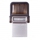 Kingston DataTraveler microDuo OTG USB Flash Drive for Phone / Tablet PC - Silver + Grey (16 GB)