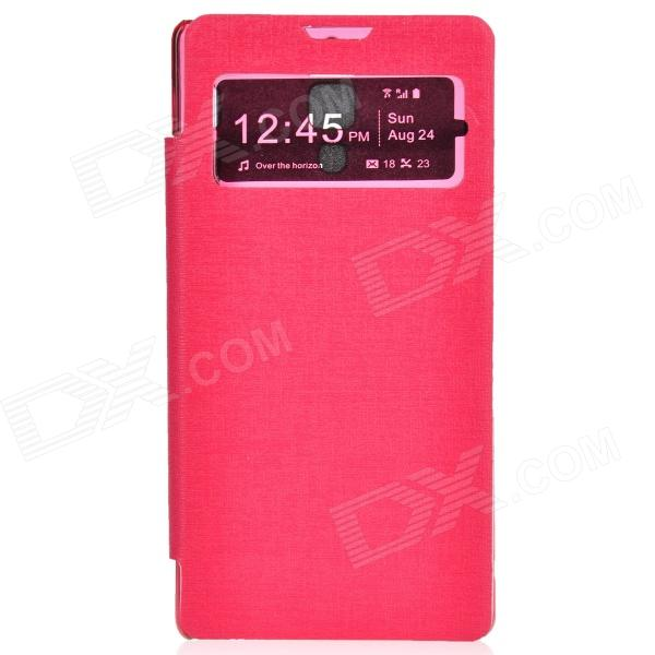 TEMEI Protective PU Leather + Plastic Case w/ Visual Window for Redmi - Deep Pink quality systems and controls for pharmaceuticals
