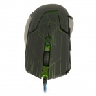 Rhorse 800/1600/2400/3200dpi Colorful Glare USB Wired Engines Gaming Mouse - Green + Black