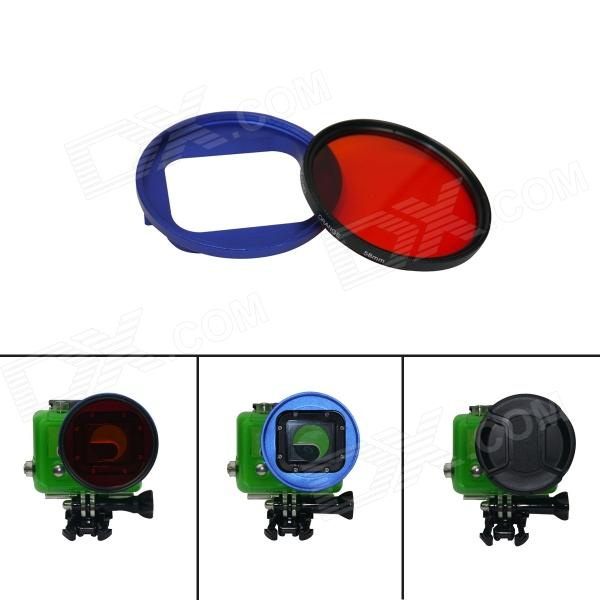 DL 58mm Blue High Precision CNC Aluminum Housing Converter +Underwater Color-Correction for GoPro 3