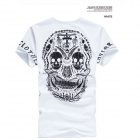 Trendy Skull Head Pattern Fashion Slim Men's T-Shirt - White (Size XXL)