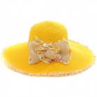 European And American Fashion Bowknot Straw Hat - Yellow