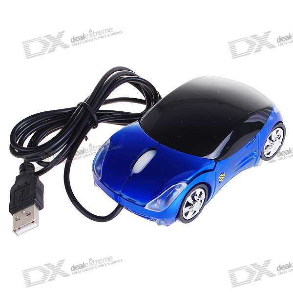 Car Shaped USB 2.0 Optical Mouse - Blue (120CM-Cable)
