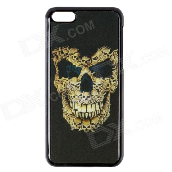 Fashionable 3D Skull Head Design Protective PC Back Case for IPHONE 5C - Black + Yellow black red yellow blue skull design stainless steel tattoo foot pedal switch footswitch power supply