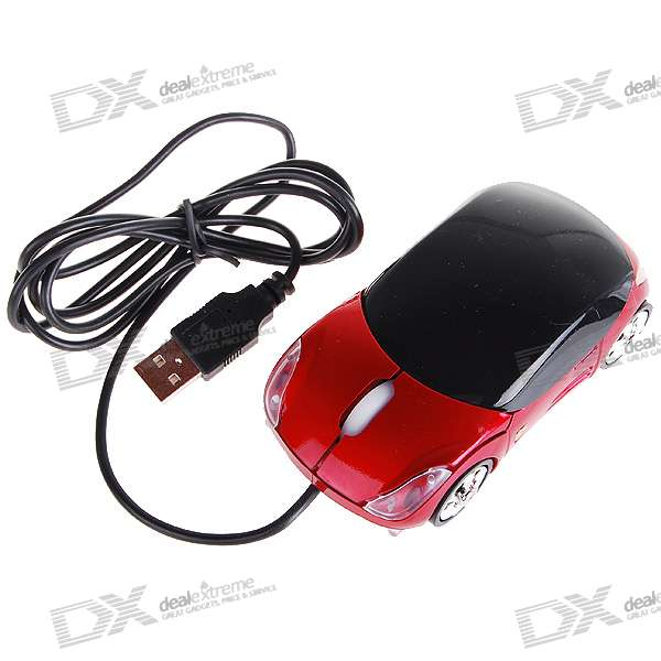 Car Shaped USB 2.0 Optical Mouse - Red (120CM-Cable)