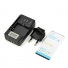 "US Plugs 0.8"" LCD Battery Charger + 4300mAh Battery + EU Plug Adapter for Samsung Galaxy S5 - Black"