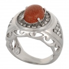 Fenlu JSS-027 Stylish Elegant Goldstone + Brass Ring - Wheat + Silver (U.S Size 7.1)