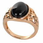 Fenlu HMN-026 Women's Elegant Copper + Agate Ring - Black + Golden (U.S Size 7)