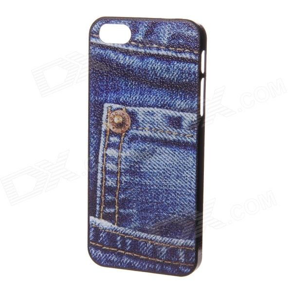 Jeans Pocket Pattern Protection Plastic Back Case for IPHONE 5 / 5S - Blue + Gold