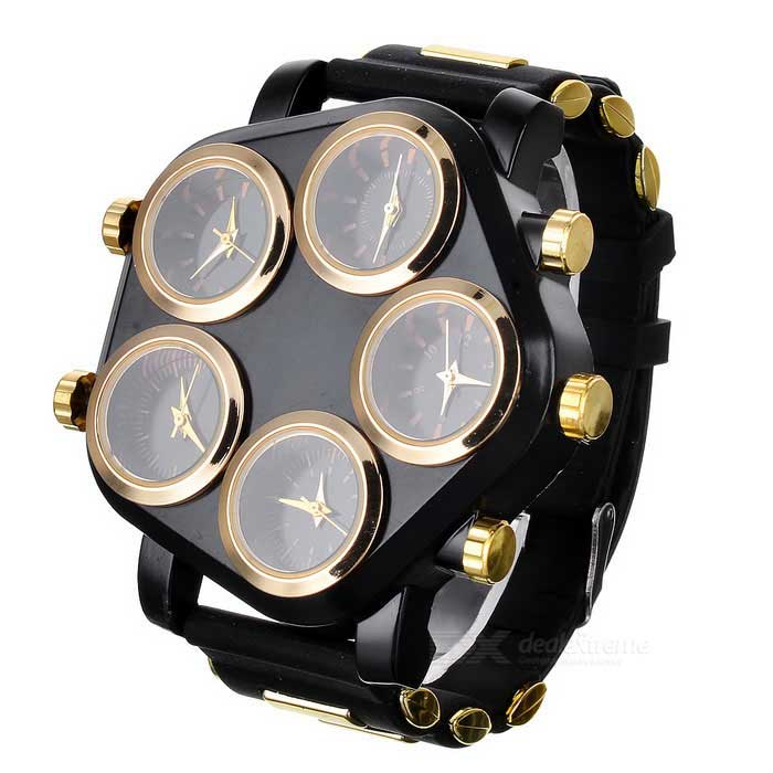 Zinc Alloy Case Silicone Band 5-Quartz Analog Wrist Watch for Men - Golden + Black (5 x 377) men s silicone band big square dial quartz wrist watch black golden 1 x 377