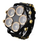 Zinc Alloy Case Silicone Band 5-Quartz Analog Wrist Watch for Men - Golden + Black (5 x 377)