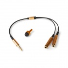 1-to-2 Gold Plated 3.5mm Male to 2-Female Stereo Audio Splitter Cable w/ Capacitive Anti-Dust Stylus