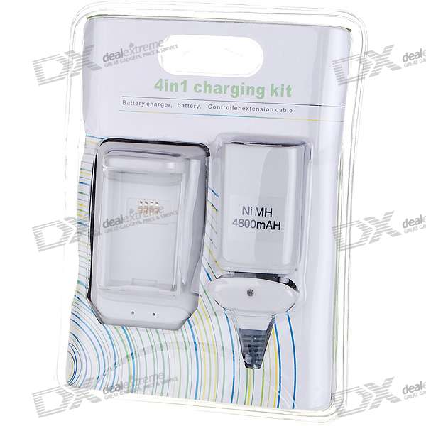 4800mAh Ni-MH Battery + USB Battery Charging Station + USB Charging Cable for XBox 360 Controllers quick charging nimh battery set for xbox 360 wireless controller grey white