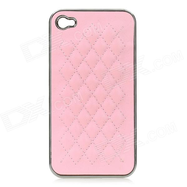 cqda Rhombus Pattern Protective Plating + PU Leather Back Case for IPHONE 4 / 4S - Pink + Silver silk style protective pu leather plastic case for iphone 4 4s deep pink