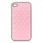 cqda Rhombus Pattern Protective Plating + PU Leather Back Case for IPHONE 4 / 4S - Pink + Silver
