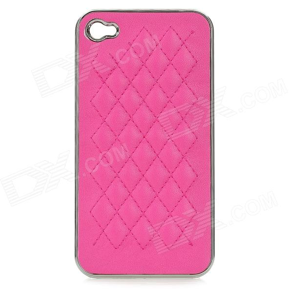 cqda Rhombus Pattern Protective Plating + PU Leather Back Case for IPHONE 4 / 4S - Deep Pink silk style protective pu leather plastic case for iphone 4 4s deep pink