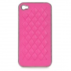 cqda Rhombus Pattern Protective Plating + PU Leather Back Case for IPHONE 4 / 4S - Deep Pink